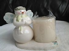 AMSCAN Winter Holiday Glazed Snowman w/ Glittered Wings Pillar Candle Holder