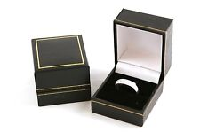 Jewellers Wholesale Ring Boxes 100 x Black Leatherette Ring Gift Storage Boxes