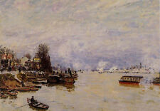 Oil painting Alfred Sisley - The Seine, View from the Quay de Pont du Jour