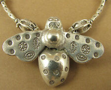 Bumble Bee necklace. Large bee. Fine & sterling silver 925. Tribal. Handmade.