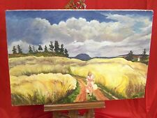 """Contemporary Painting On Canvas - Woman On Path In Field - 36"""" x 23 3/4"""""""