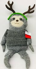 "Christmas Sloth Doll Table Top 20"" Figurine Dangling Legs Reindeer Gray Sweater"