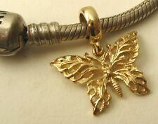 GENUINE  SOLID 9K  9ct YELLOW GOLD CHARM BEAD with FILIGREE BUTTERFLY CHARM DROP