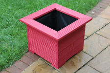47cm Square Planters Made in Decking Perfect Flower Trough Plant Pot Red