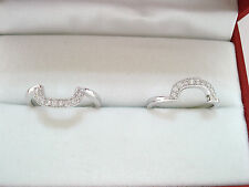 WEDDING & ANNIVERSARY 2 STACKABLE DIAMOND BANDS RING GUARDS 14K WHITE GOLD