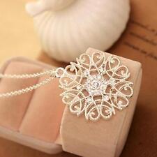 Fashion Hollow Imitation Diamond Silver Plated Jewelry Pendant Chain Necklace