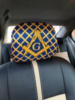 MASONIC MASTER MASON CAR SEAT HEAD REST COVER SET, MASONIC REGALIA HEAD REST COV