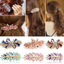 Y Fashion Women Girls Crystal Rhinestone Flower Barrette Hair Clip Clamp Hairpin