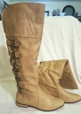 NEW MICHAEL ANTONIO SAND TAN FX LEATHER BUCKLE ACCENT KNEE RIDING BOOTS 8.5M