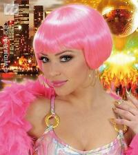 Ladies Neon Pink Wig With Fringe Cyber Nu Rave Festival Fancy Dress