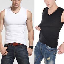 Men's V-Neck Lycra Vest Sleeveless Muscle Tee T-Shirt Slim Fit Tank Top 1PC