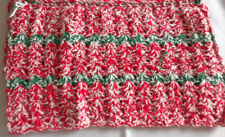 """Placemats Handmade Crocheted Red and Green  18"""" x 11"""" NEW Set of 4"""
