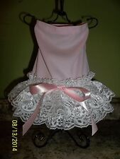 Baby Pink and Lace female dog clothes, dress sz x-small (XS).US seller.