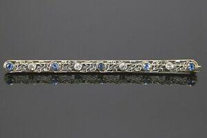 Art Deco Vintage 14K Yellow Gold Platinum Sapphire Old Miner Diamond Pin Brooch