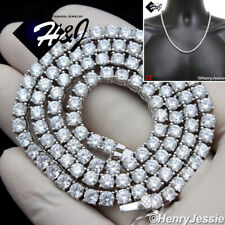 """22""""MEN 925 STERLING SILVER 4MM ICY DIAMOND 1 ROW TENNIS CHAIN NECKLACE*SN10"""