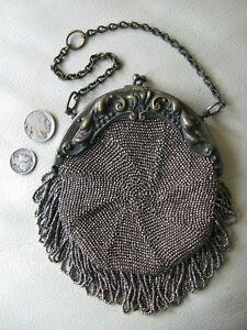 Antique Brass / Silver Steel Bead Fringe Chatelaine For Belt Clip Kilt Purse