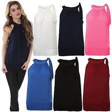 Polyester Halter Sleeve Plus Size Tops & Blouses for Women