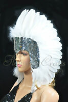 las vegas showgirl feather sequins crown headgear headdress in White