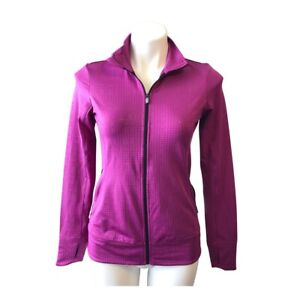 Asics Full Zip Front Jacket Pink Purple Small Stand Up Collar Long Sleeve Women