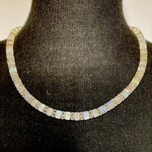 Vintage Crystal Necklace Aurora Borealis 1960,s Unusual Collar Length