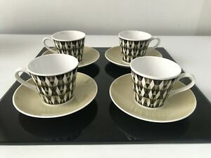 """4 X Vintage 60 /70's Royal Tuscan Geometric """"Concerto"""" Fine China CUPS & SAUCERS"""