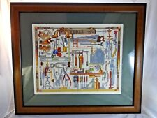 TOOLS Man Cave Wall Decor TOOLS Wall Hanging Cross Stitch Great Frame w Glass