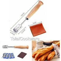 Baker's Bread Scoring Razor Tool Grignette Lame Dough With 5 Blades Beech Handle
