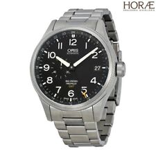 Oris Men's Big Crown ProPilot GMT 45 Small Second Steel on Leather Grey Arabic
