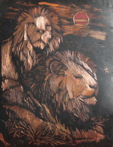 Vintage European Hand Engraved Copper Lions Board
