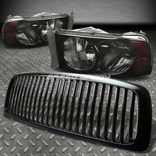 FOR 02-05 DODGE RAM BLACK FRONT GRILL+SMOKE HEAD LAMPS LIGHTS AMBER REFLECTOR