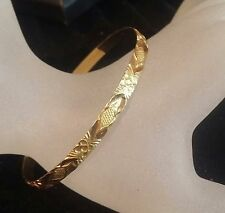Fancy Hand Made 22 K Yellow Solid Gold Floral Motif Bangle Easy Slip-on Flexible