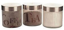 Apollo Glass Canisters Set Of 3 Tea Coffee Sugar Stainless Steel Screw Top Lids