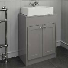 600mm Grey Traditional Vanity Unit Countertop Rectangle Basin Bathroom Furniture