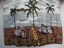 Honu Men's Large Hawaiian Aloha Shirt Motorcycles Beach Surfboards Waves Island