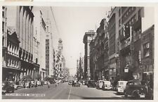 Stamp Australia 3&1/2d Rotary on real photo postcard Collins Street Melbourne