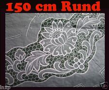150 cm Ø RUND GRÜN Vinyl TISCHDECKE SCHUTZDECKE DECKE GARTEN mit Blumenmotiv NEU
