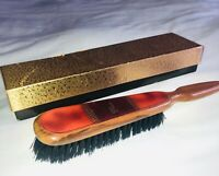 "VTG MCM HOLLYWOOD REGENCY VANITY ""MRS."" WOOD&LEATHER BRISTLE HAIR BRUSH W/BOX"