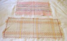 2 Vintage Hand Woven Table Runners Centerpiece Cloths Beautiful Work Colors x