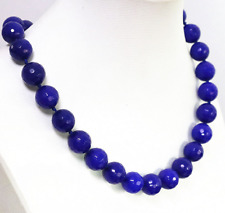 "faceted 10mm blue sapphire jade round beads women necklace 18"" AAA"