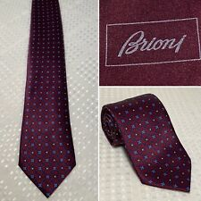 Authentic BRIONI Burgundy Red Blue Geometric Floral 100% Silk Tie Necktie Long