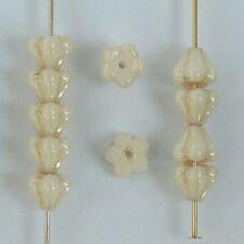 Flower Bell Cream 6mm Chalk Champagne 03000-14413 Czech Glass Bead x 50