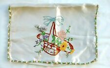Small Vintage Satin Handmade Floral Embroidered Pillow Cover