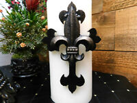 Iron Cross Candle Pin for Pillar Candles with Fleur de Lis, French, New Orleans