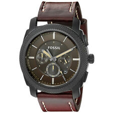 Fossil Men's FS5121 Machine Chronograph Stainless Steel Case Brown Leather Watch
