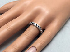 0.70Ct Genuine Natural Untreated Sapphire Eternity Band In Solid 14K White Gold