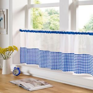 Gingham Check Blue & White Cafe Voile Curtain Panel✔ Fast Despatch✔ UK Seller✔