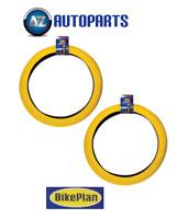 """2x Bikeplan - BMX Bike Bicycle Tyres Retro Style 20"""" x 2.0"""" (Pair) Yellow"""