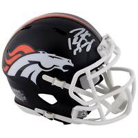 PEYTON MANNING Autographed Denver Broncos Black Matte Mini Helmet FANATICS
