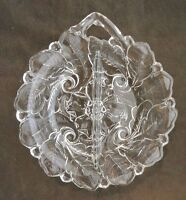 Clear Glass 2 Section Divided Candy Dish Relish Tray with Embossed Poppy Flower