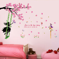 Pretty Girl Swing On The Tree Wall Sticker Decal Art Mural Home Room Decor